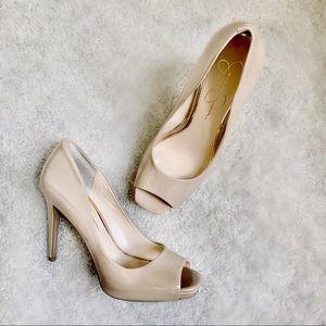 JESSICA SIMPSON Nude Patent Leather Peep Toe Heels